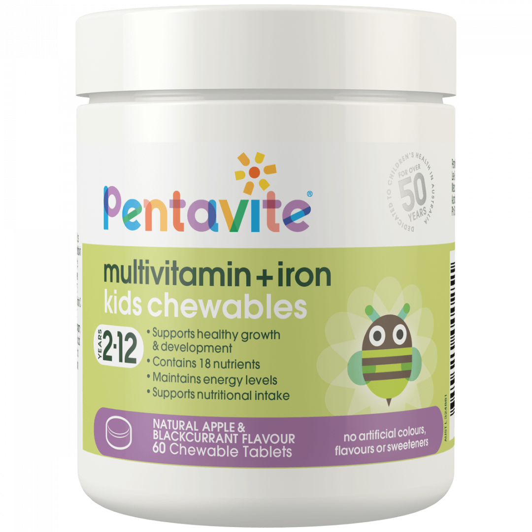 Pentavite_MultiVitamin-Iron_60Chewables_Tub_Front