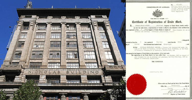 The Nicholas Building and trademark registration
